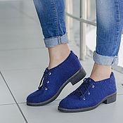Boots handmade. Livemaster - original item Felted low shoes azure city. Handmade.