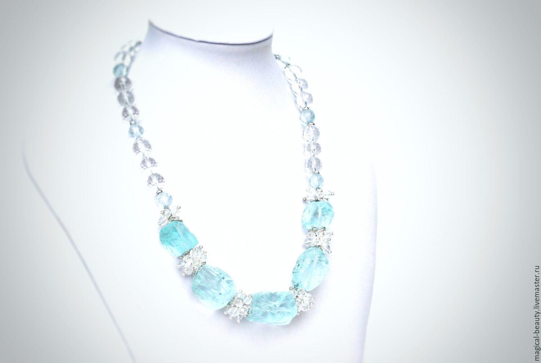 Necklaces & Beads handmade. Livemaster - handmade. Buy Necklace of Aqua quartz 'Freshness of the early morning'.
