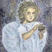 Картины и панно handmade. Livemaster - original item The author`s oil painting Cloudy day - children, angels, baby. Handmade.
