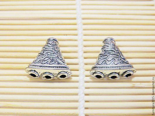 Для украшений ручной работы. Ярмарка Мастеров - ручная работа. Купить Разделитель треугольник для бусин, тибетский стиль, серебро.. Handmade.