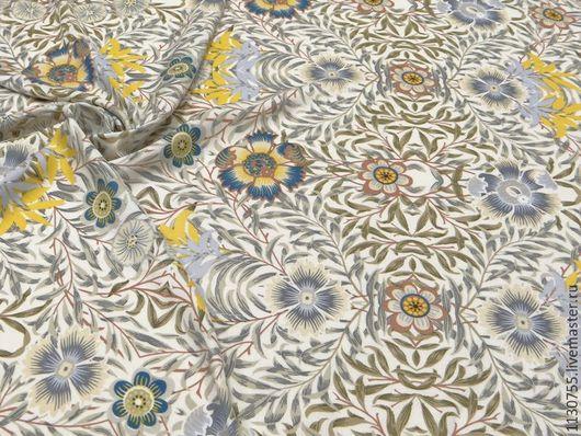 Шитье ручной работы. Ярмарка Мастеров - ручная работа. Купить ткань штапель  беж с цветами. Handmade. Комбинированный, штапель