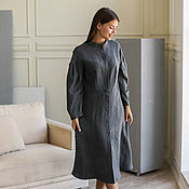 Одежда handmade. Livemaster - original item Linen dress with a graphite-colored stand-up collar. Handmade.