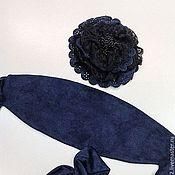 """Аксессуары ручной работы. Ярмарка Мастеров - ручная работа Комплект: Пояс-кушак безразмерный и брошь """"Синяя замша"""" с кружевом. Handmade."""