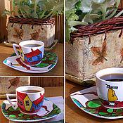"""Посуда ручной работы. Ярмарка Мастеров - ручная работа Кофейная пара """"По дороге домой"""". Handmade."""