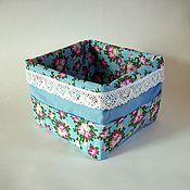 """Для дома и интерьера ручной работы. Ярмарка Мастеров - ручная работа Короб для хранения косметики """"Розы на голубом"""". Handmade."""