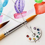 handmade. Livemaster - original item Pendant: Palette silver pendant with chain. Handmade.