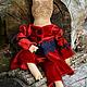 """Коллекционные куклы ручной работы. Ярмарка Мастеров - ручная работа. Купить Лягушка """"Благородная дама"""". Handmade. Бордовый, чердачная кукла"""