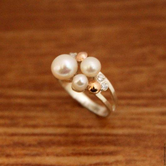 Кольца ручной работы. Ярмарка Мастеров - ручная работа. Купить Серебряное кольцо Карибы с золотыми накладками, серебро 925. Handmade.