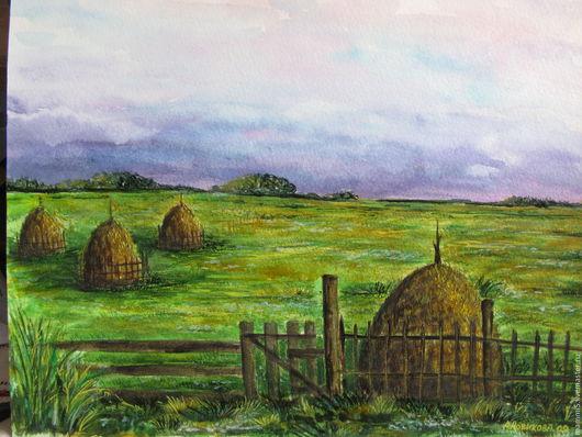 Пейзаж ручной работы. Ярмарка Мастеров - ручная работа. Купить Стога.. Handmade. Зеленый, поле, лето, деревня, акварель