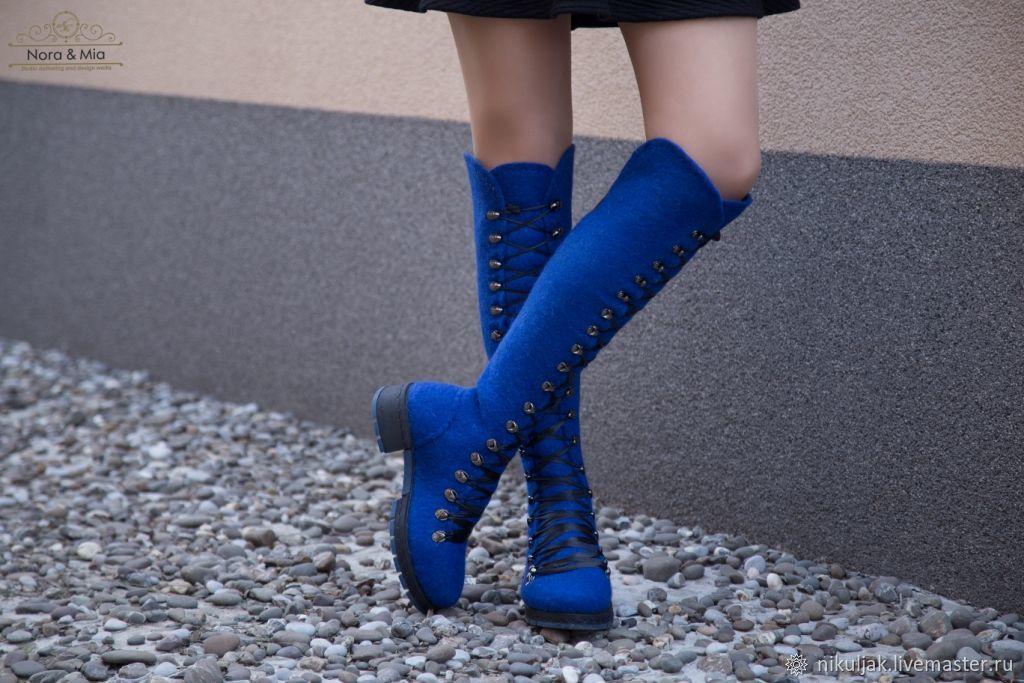 Обувь ручной работы. Ярмарка Мастеров - ручная работа. Купить Ботфорты валяные Морской бриз. Handmade. Валенки, обувь, ботфорты