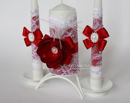 """Свадебные аксессуары ручной работы. Ярмарка Мастеров - ручная работа. Купить Свадебные свечи """"Алые розы"""". Handmade. Ярко-красный"""