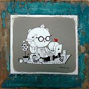 Картины и панно ручной работы. Ярмарка Мастеров - ручная работа Блоггеры панно на старом дереве в комнату ребенка бирюзовый цвет акрил. Handmade.