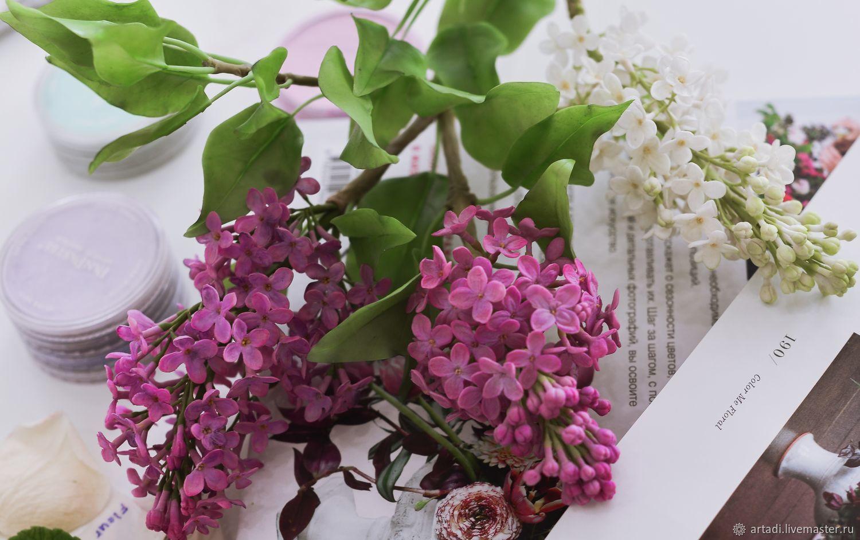 Веточка сирени из холодного фарфора, Цветы, Москва,  Фото №1