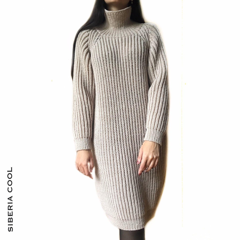 Dress Ultracomfort, chunky spokes, beige, wool, Dresses, Voronezh,  Фото №1