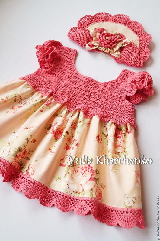 """Одежда для девочек, ручной работы. Ярмарка Мастеров - ручная работа. Купить Платье """"НЕЖНОСТЬ РОЗЫ"""" для маленькой леди. Handmade. Коралловый"""