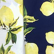 Материалы для творчества ручной работы. Ярмарка Мастеров - ручная работа ткань хлопок стрейч   Лимоны , 2 вида. Handmade.