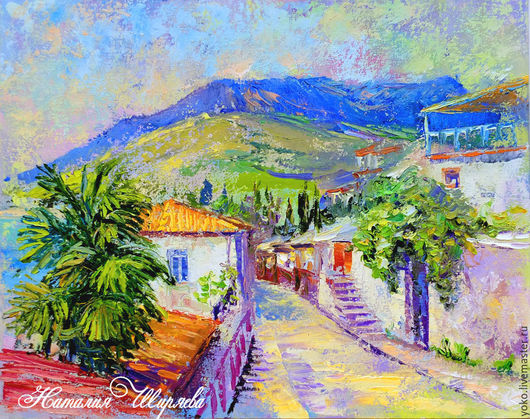 Landscape handmade. Livemaster - handmade. Buy Pictures of the Crimea 'Streets of Gurzuf in the Spring' oil on canvas.