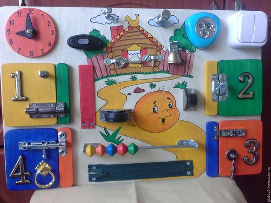 Развивающие игрушки ручной работы. Ярмарка Мастеров - ручная работа. Купить Бизиборд Колобок. Handmade. Комбинированный, подарок для мальчика