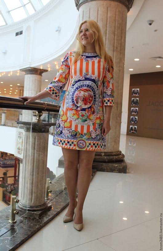 """Платья ручной работы. Ярмарка Мастеров - ручная работа. Купить Платье """"Fabulous Italy"""" из жаккарда Dolce Gabbana. Handmade. Оранжевый"""