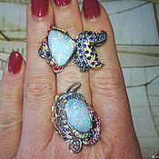 Украшения handmade. Livemaster - original item Santorini set with doublet opal, sapphires, rubies. Handmade.