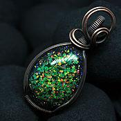 Украшения handmade. Livemaster - original item Copper pendant with green opals. Drop. Laboratory opals in resin. Handmade.