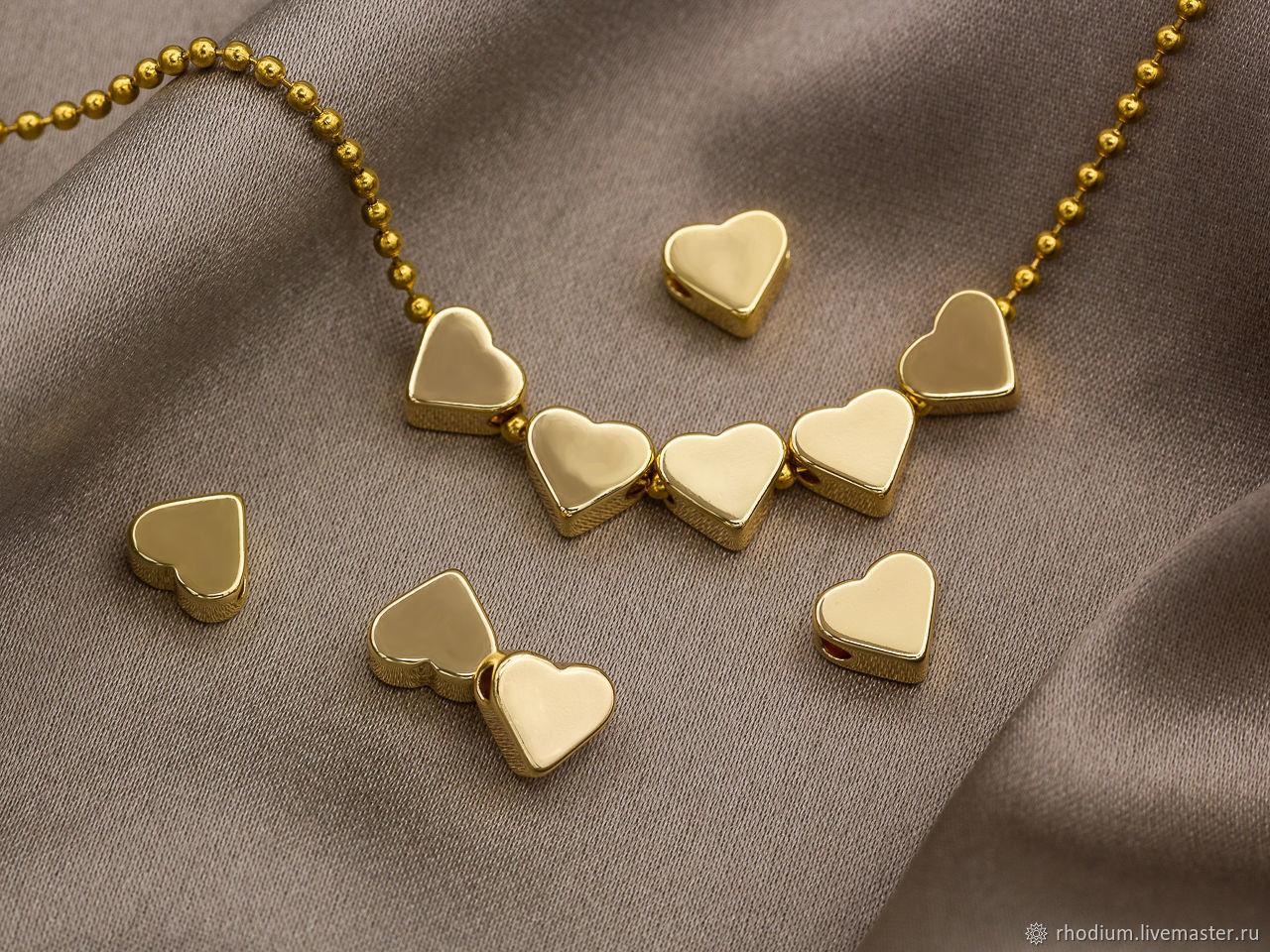 Мини Бусины Сердце 10шт, золото, Бусины, Москва,  Фото №1