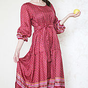 Одежда handmade. Livemaster - original item Crimson dress in the style Boho silk. Handmade.