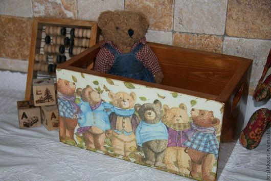 """Детская ручной работы. Ярмарка Мастеров - ручная работа. Купить Короб для игрушек """"Осень... Мишки... Листопад..."""". Handmade. подарок"""