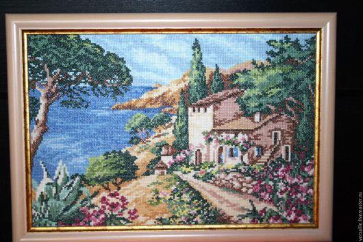 картина, картина с вышивкой, вышитая картина, картина в подарок, вышивка на заказ, море, взморье, пейзаж, морской пейзаж, картина с морем