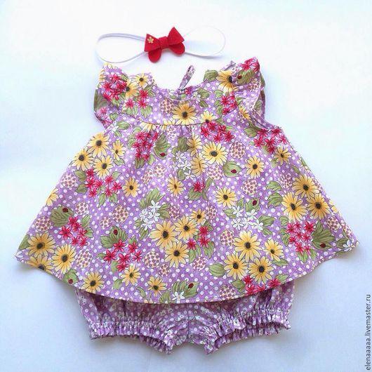 Одежда для девочек, ручной работы. Ярмарка Мастеров - ручная работа. Купить Детская туника и блумеры из хлопка, комплект Желтые ромашки. Handmade.