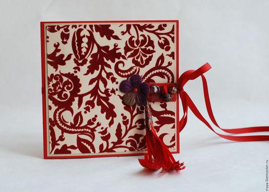 """Открытки для женщин, ручной работы. Ярмарка Мастеров - ручная работа. Купить Открытка женская """"Красный бархат"""". Handmade. Ярко-красный"""
