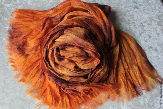 Шали, палантины ручной работы. Ярмарка Мастеров - ручная работа. Купить Шелковый палантин Оранж. Handmade. Рыжий, подарок женщине