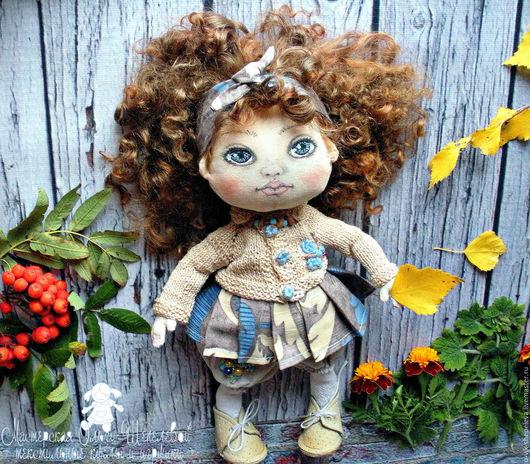 Коллекционные куклы ручной работы. Ярмарка Мастеров - ручная работа. Купить Здравствуй осень! Маленькая текстильная кукла. Handmade. Розовый