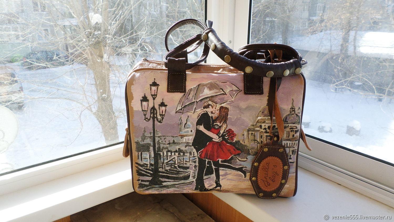 2873aaba93b5 ... Женские сумки ручной работы. Заказать Сумка кожаная женская с росписью  на заказ для Татьяны. ...