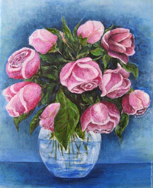 Картины цветов ручной работы. Ярмарка Мастеров - ручная работа. Купить Букет роз.. Handmade. Розовый, букет, холст масло