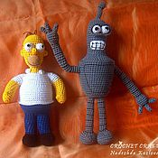 Куклы и игрушки ручной работы. Ярмарка Мастеров - ручная работа Гомер Симпсон и Бендер. Handmade.