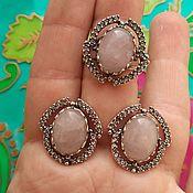 Украшения handmade. Livemaster - original item @ Earrings and ring with stones and rhinestones. Silvering, blackening.. Handmade.