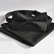 Аксессуары handmade. Livemaster - original item Tie Classic solid black pocket square black. Handmade.