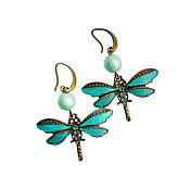Украшения handmade. Livemaster - original item Earrings Dragonfly bronze, coloured patina.. Handmade.