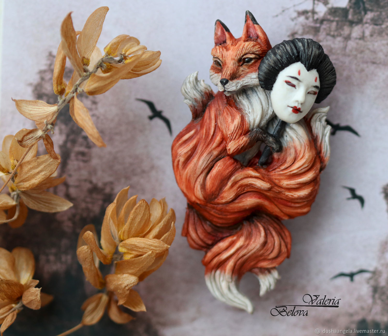 Brooch-pin: ' The phony' Fox, Kitsune, Brooches, Vladimir,  Фото №1