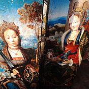 Картины и панно ручной работы. Ярмарка Мастеров - ручная работа Панно парное деревянное Святые Екатерина и Варвара. Handmade.