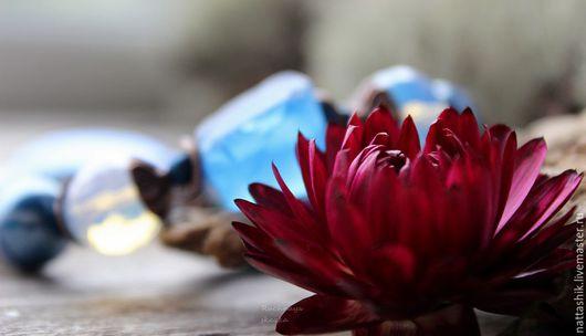 Браслеты ручной работы. Ярмарка Мастеров - ручная работа. Купить Синий иней - браслет. Handmade. Синий, мороз, браслет, красный