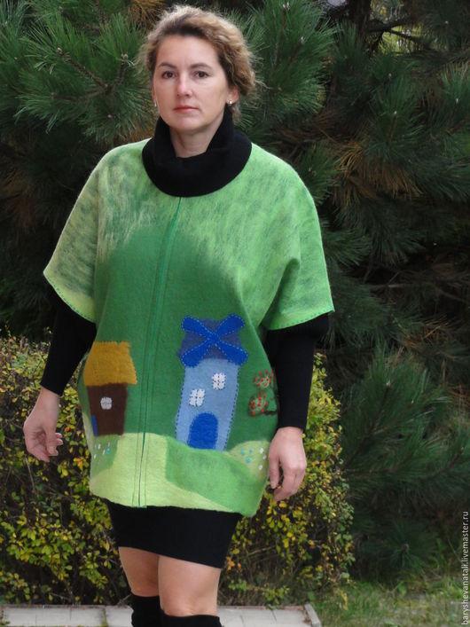 Верхняя одежда ручной работы. Ярмарка Мастеров - ручная работа. Купить Авторское пальто.. Handmade. Зеленый, пальто демисезонное