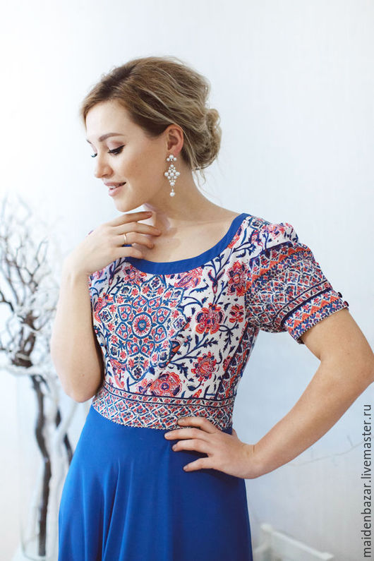 Платья ручной работы. Ярмарка Мастеров - ручная работа. Купить Платье. Handmade. Синий, летнее платье, расклешенное платье, платье