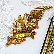 Украшения handmade. Livemaster - original item Gold feather embroidered brooch