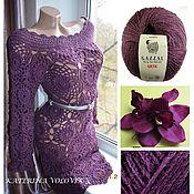 Одежда ручной работы. Ярмарка Мастеров - ручная работа шерстяное платье - цвета баклажан. Handmade.