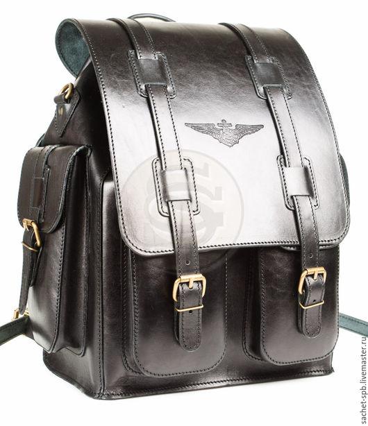 """Рюкзаки ручной работы. Ярмарка Мастеров - ручная работа. Купить Кожаный рюкзак """"Пехотинец"""" черный. Handmade. Черный, рюкзак для города"""