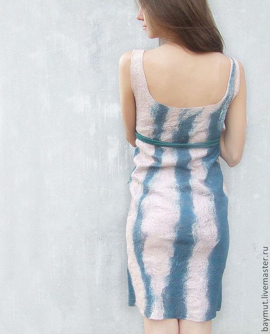 Платья ручной работы. Ярмарка Мастеров - ручная работа. Купить Валяное платье. Handmade. Абстрактный, тёмно-зелёный, валяное платье