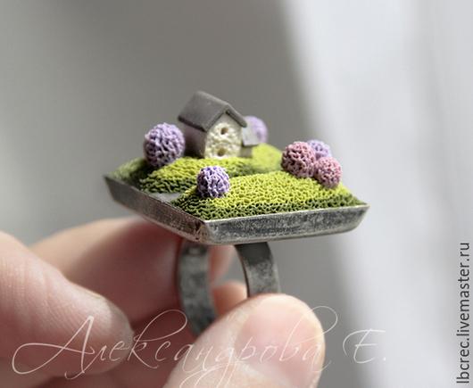 """Кольца ручной работы. Ярмарка Мастеров - ручная работа. Купить Кольцо """"Сиреневый сад"""" - Миниатюра из полимерной глины. Handmade. Кольцо"""