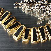 Винтаж ручной работы. Ярмарка Мастеров - ручная работа Крупный черно-золотой браслет.  Эмаль. Handmade.